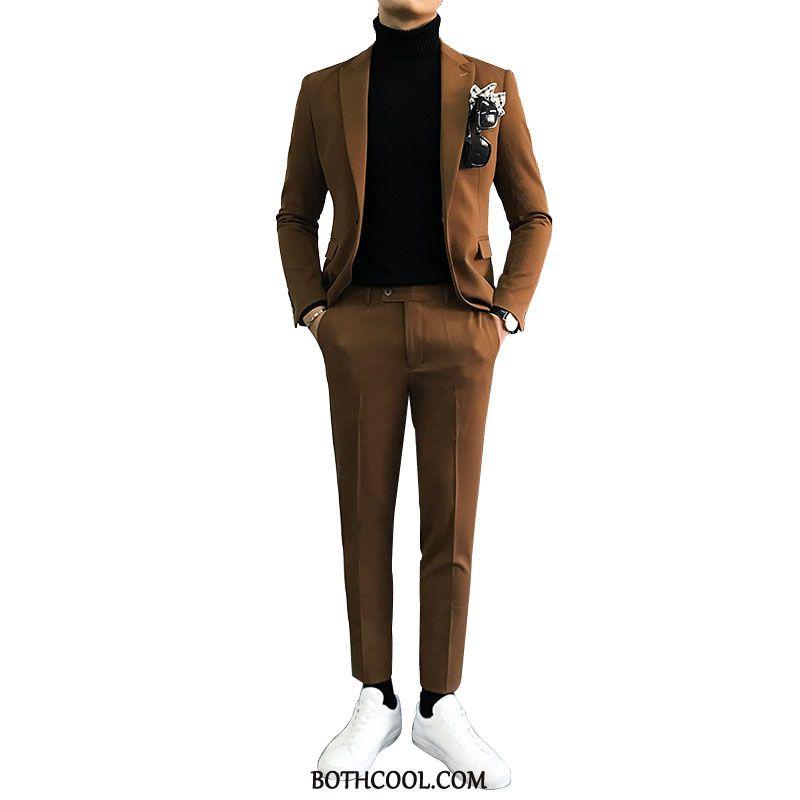 Suits Mens Discount Online British Casual Set Slim Fit Suit Business Khaki