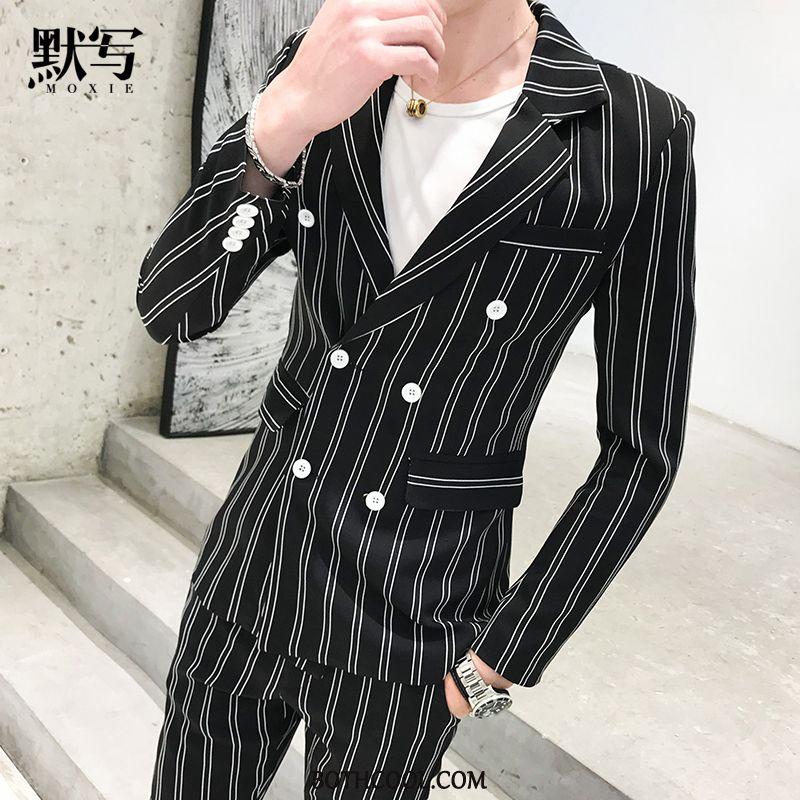 Suits Mens Discount Online British Formal Suit Double Breasted Slim Fit Suit Tops Black