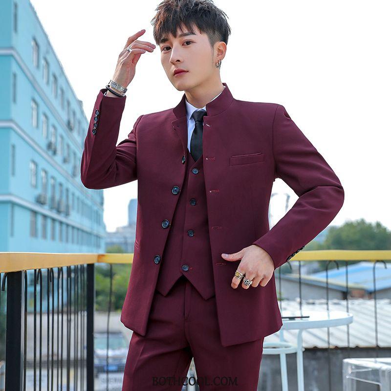 Suits Mens Discount Online Men Suit Casual Trend Slim Fit Set White