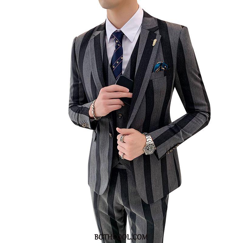 Suits Mens Discount Online Men's Three Sets Suit Bridegroom Best Man Men Stripe Black