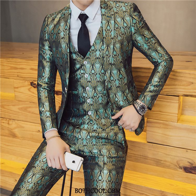 Suits Mens Discount Online Presided Over Glossy Suit British Men Three Sets Printing Blue