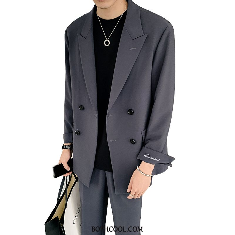 Suits Mens Discount Online Set Suit Men's Network Casual Loose Dark Gray Red