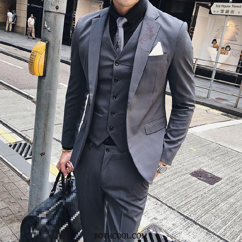 Suits Mens Discount Online Slim Fit British Suit Handsome Suit Europe Gray