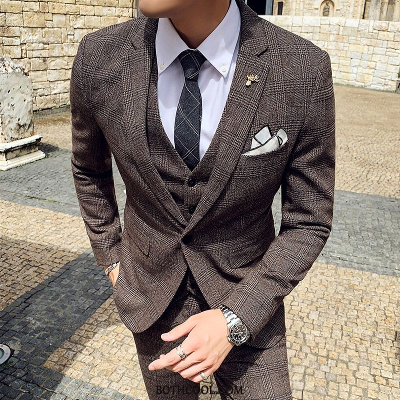 Suits Mens Discount Online Slim Fit Casual Suit Europe Wedding Winter Coffee