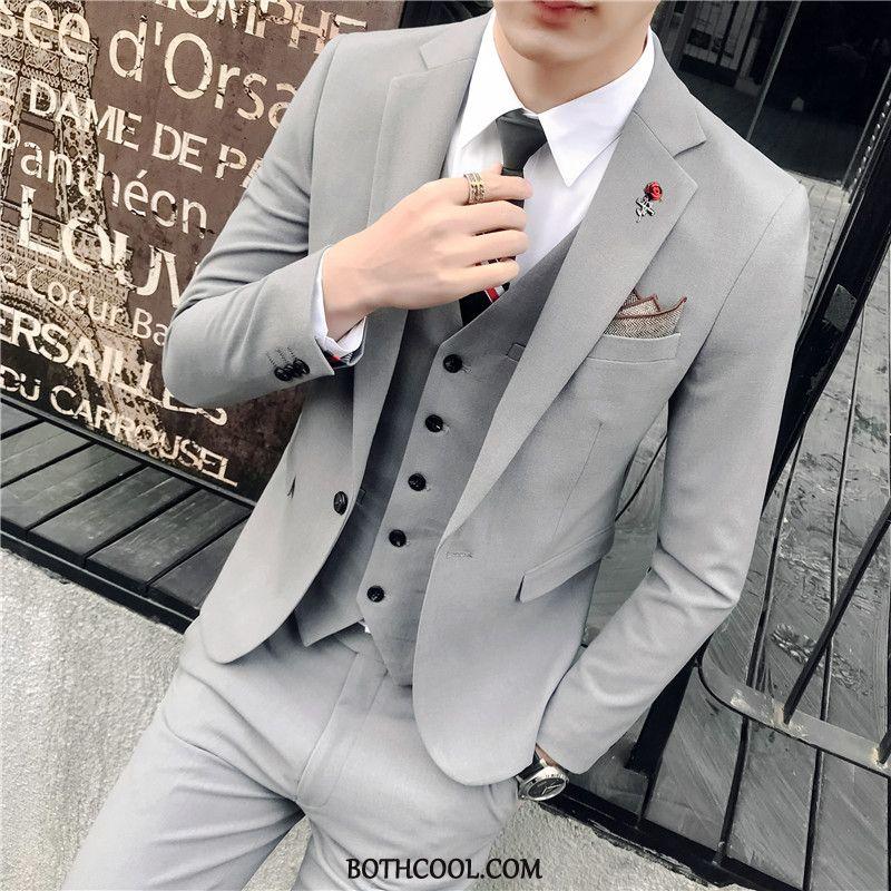 Suits Mens Discount Online Slim Fit Marriage Europe Men Three Sets Set Gray Purple