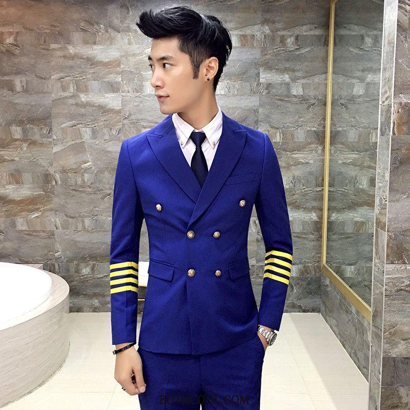 Suits Mens Discount Online Slim Fit Suit Set Uniform Suit Men Stripe White Black