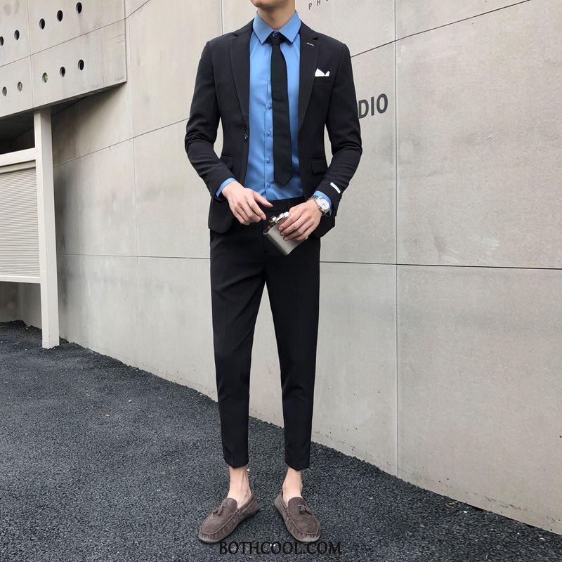 Suits Mens Discount Online Summer Trend Formal Suit Slim Fit Suit Thin Section Black