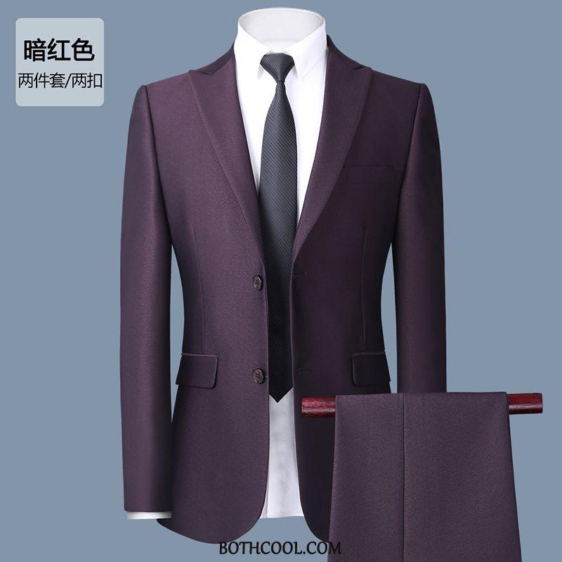 Suits Mens Discount Online Three Sets Slim Fit Suit Bridegroom Men's Wedding Red