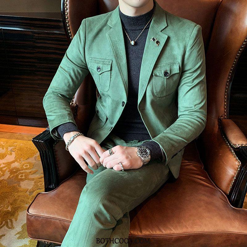 Abito Completo Uomo Vendita Tendenza Cravatta Studente Tre Pezzi Pantaloni Da Abito Vestiti Verde