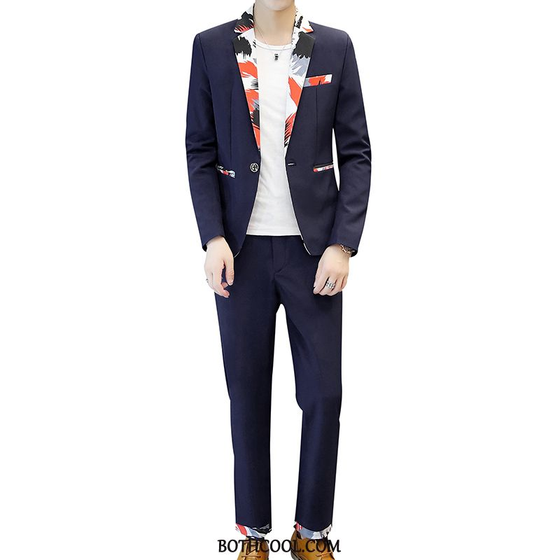 Suits Mens Discount Online Trend Suit Two Pieces Suit Slim Fit Long Sleeves Blue