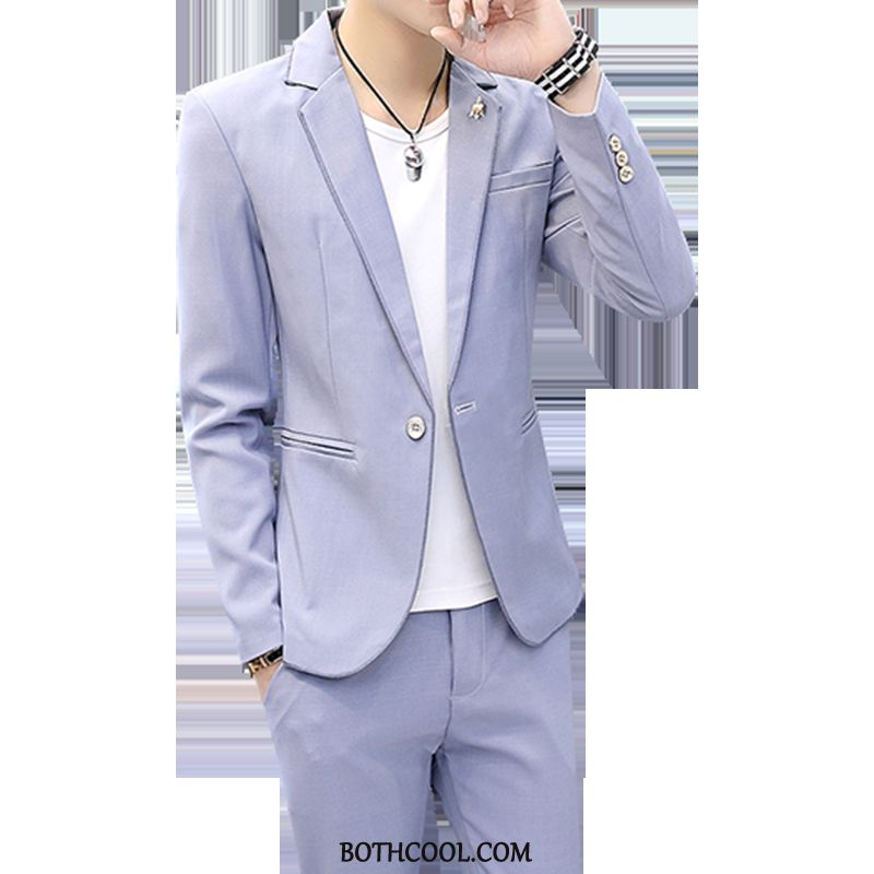 Suits Mens Discount Online Youth British Slim Fit Spring Trend Coat Blue