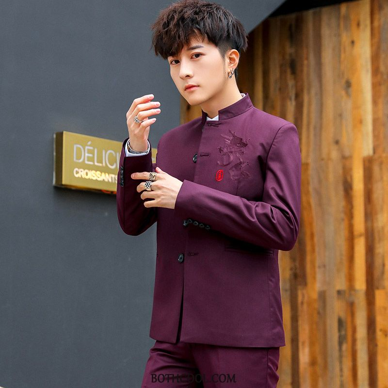 Suits Mens Discount Online Youth Middle Suit Set New Wedding Red Wine