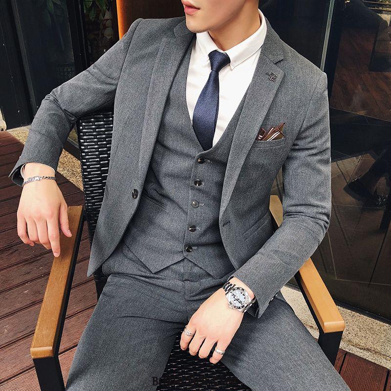Suits Mens Discount Set British Wedding Handsome Suit Middle Gray
