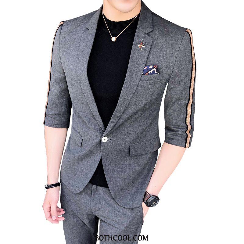 Suits Mens Discount Set Sleeve Slim Fit Men Europe Trend Stripe Light Gray
