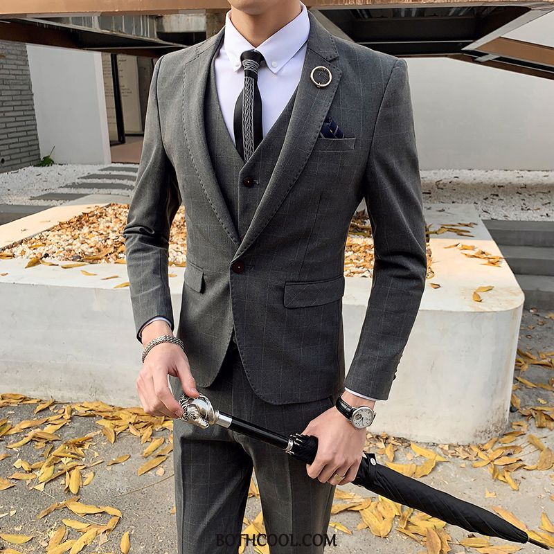 Suits Mens Discount Suit British Wedding Casual Trend Checks Gray