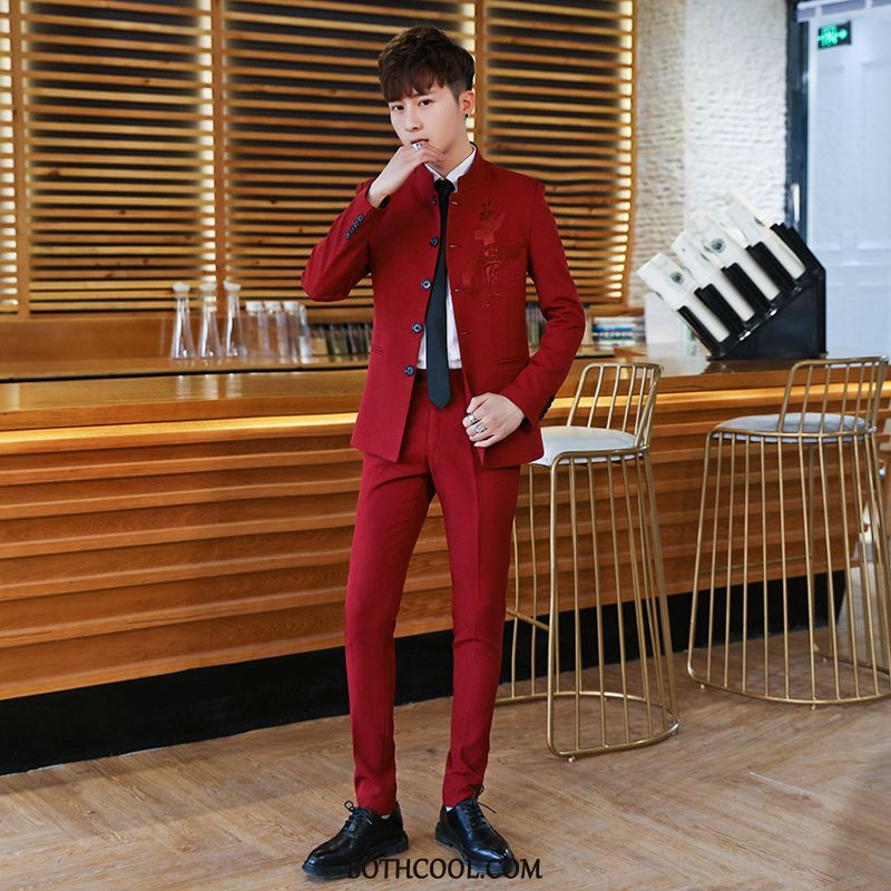 Suits Mens Discount Suit Coat Slim Fit Men's New Men Red Wine