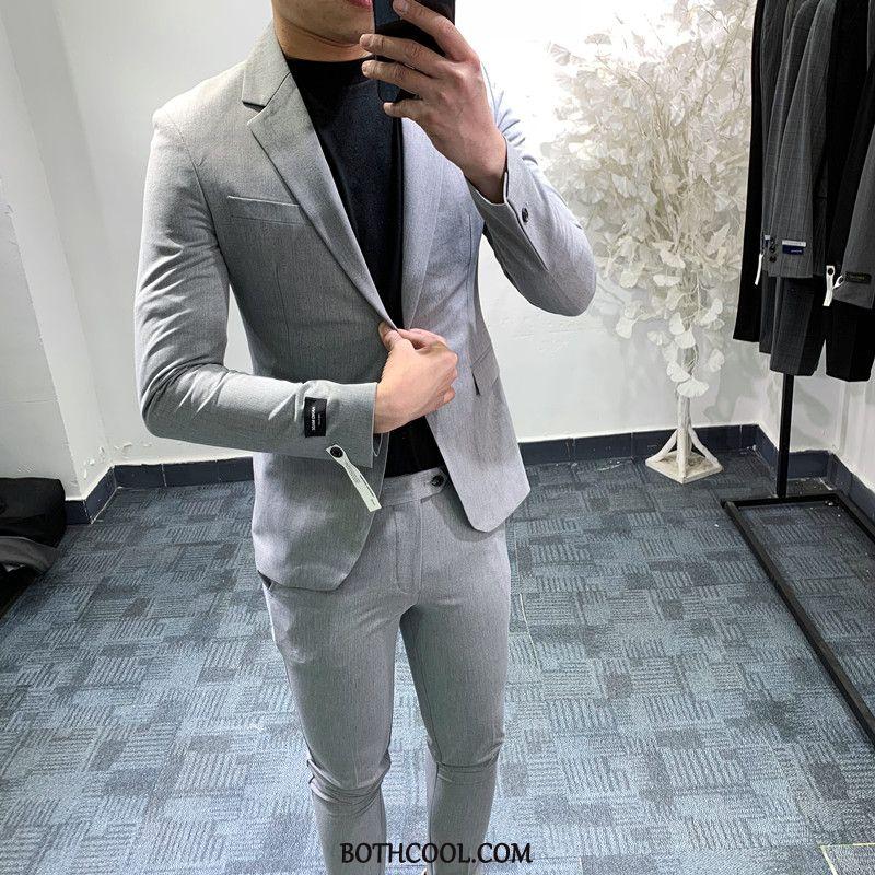 Suits Mens Discount Suit Set Trend British Two Pieces Handsome Black