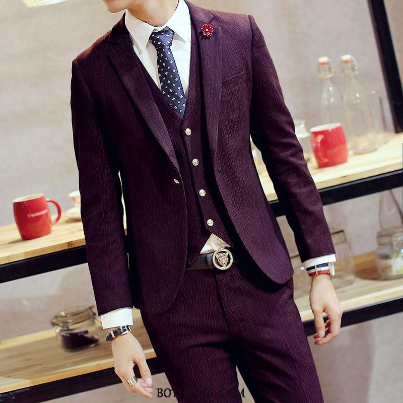 Suits Mens Discount Suit Slim Fit Suit Professional Bridegroom Three Sets Red Wine