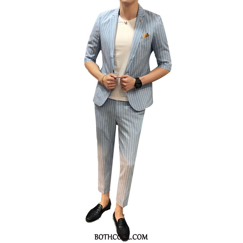 Suits Mens Discount Thin Section Pantyhose Slim Fit Two Pieces Blazer Summer White Blue