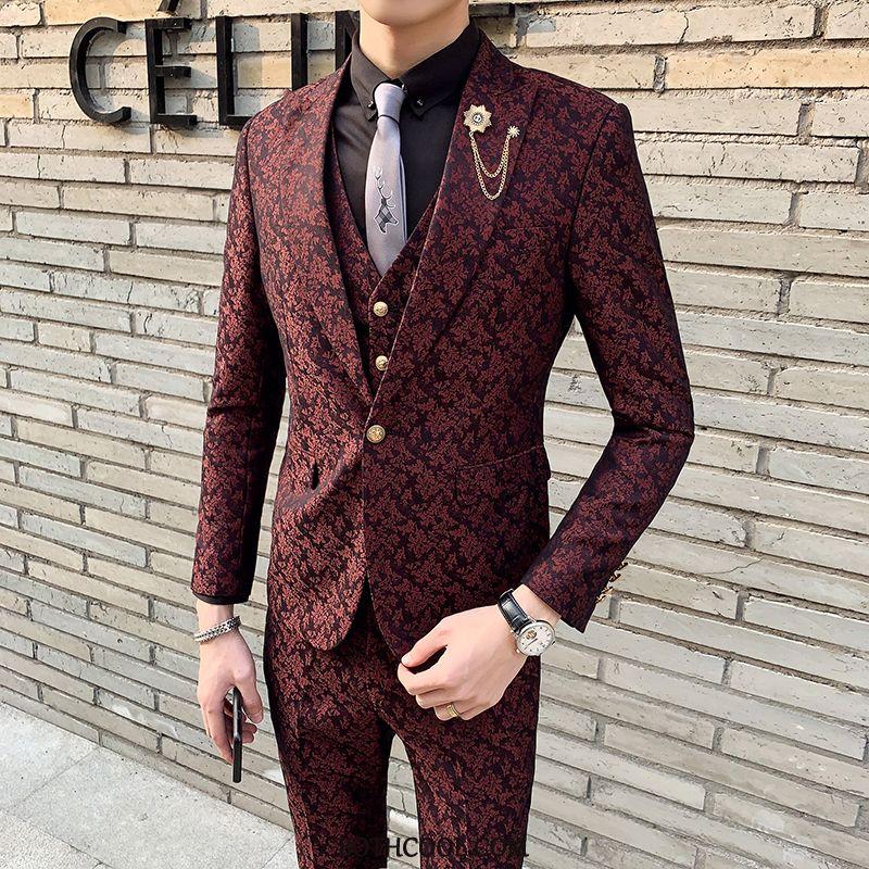 Suits Mens Discount Three Sets Men's Slim Fit Suit Suit Autumn Pattern Navy Blue