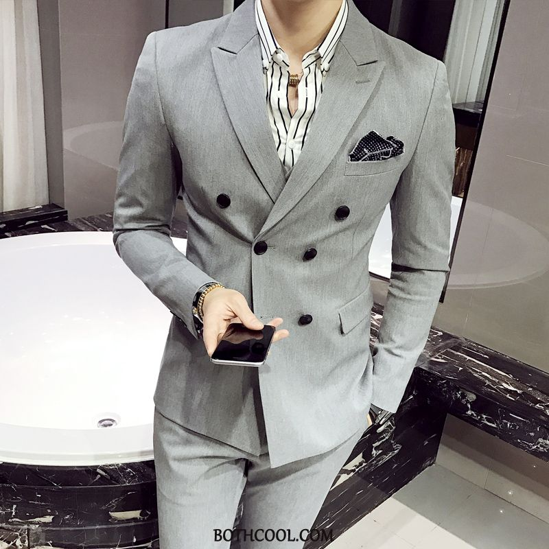 Suits Mens Discount Trend Double Breasted Best Man Casual Set British Light Gray