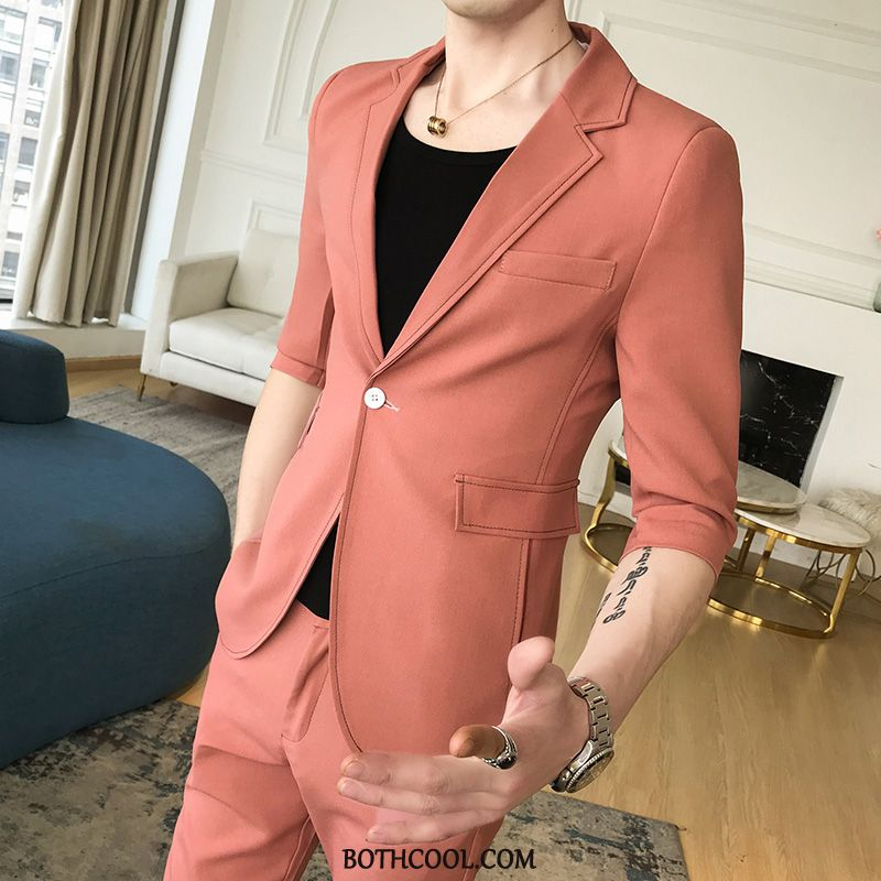 Anzüge Herren Billige Seide Casual Business Männer Hose Blazer Orange Rot