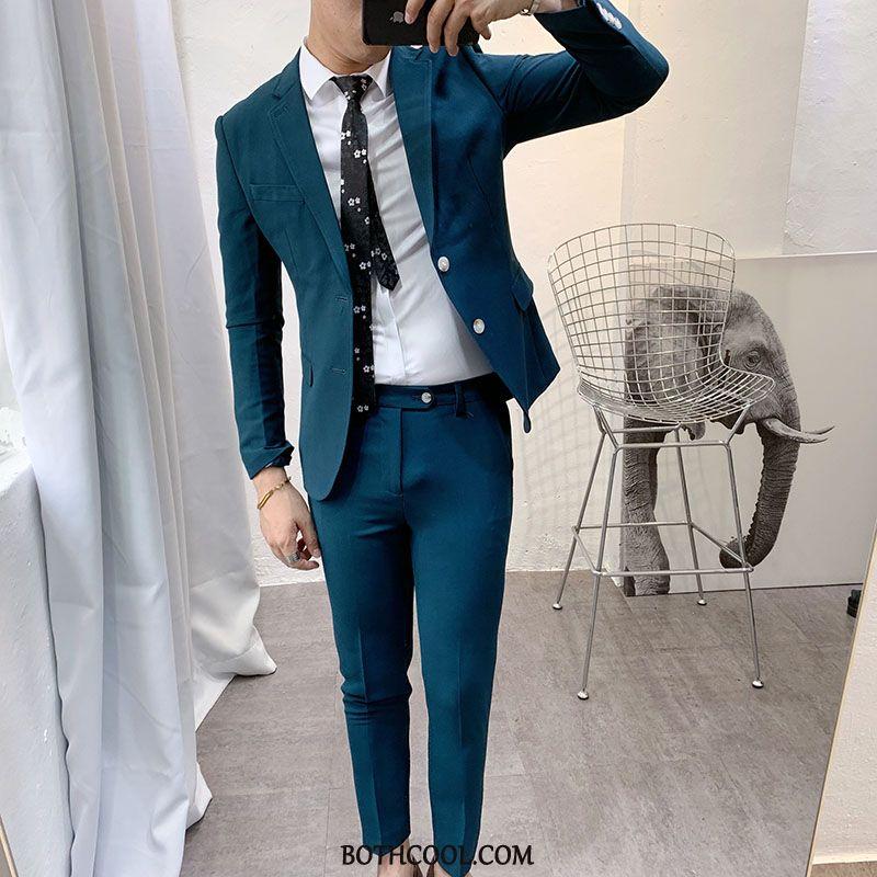 Suits Mens For Sale British Set Two Pieces Casual Suit Men Green