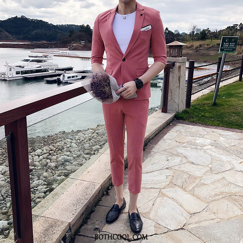 Suits Mens For Sale Casual Sleeve Men's Slim Fit Pantyhose Men Red Pink