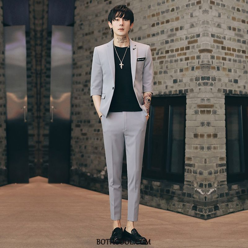 Suits Mens For Sale Casual Thin Section Suit Slim Fit Handsome Trend Gray