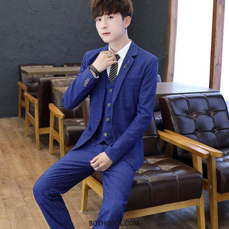 Suits Mens For Sale Coat Tops Slim Fit Trend Brand Three Sets Dress Blue
