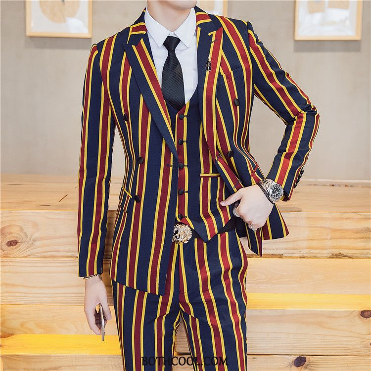 Suits Mens For Sale Costumes Suit Double Breasted Set Stage Europe Stripe Red