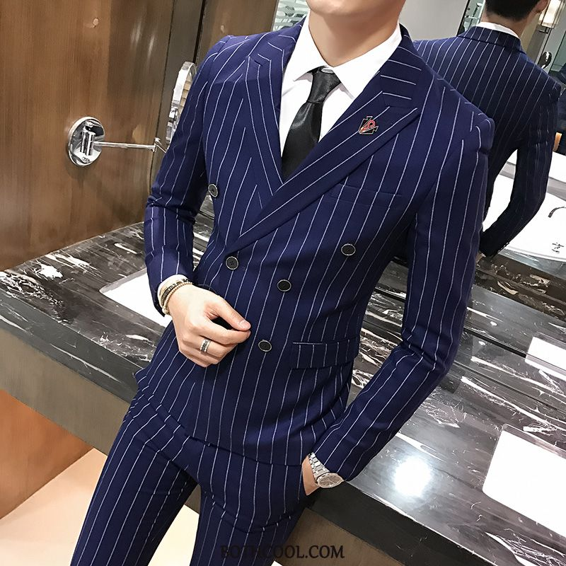 Suits Mens For Sale Double Breasted Marriage Best Man Men Bridegroom Suit Stripe Gray