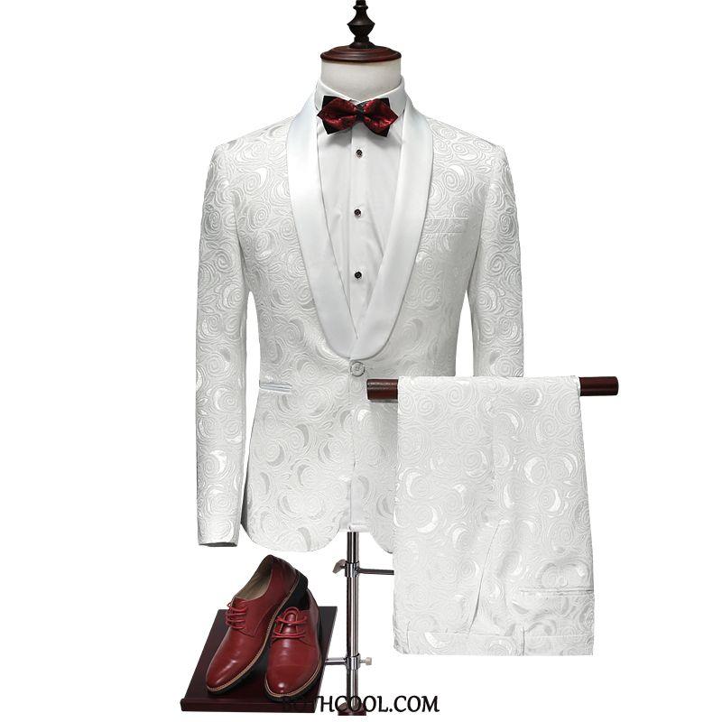 Abito Completo Uomo On Line Uomo Matrimonio Boutique Pantaloni Fiori Di Personalità Bianco