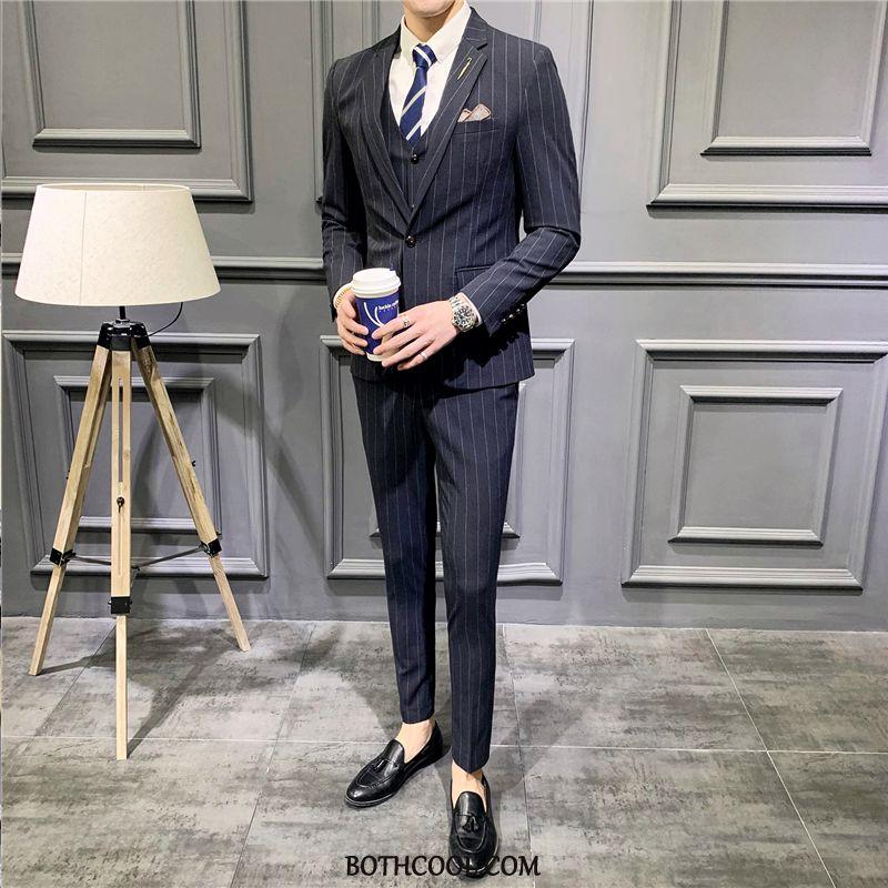 Suits Mens For Sale Formal Suit Slim Fit Business Europe Set Three Sets Stripe Navy