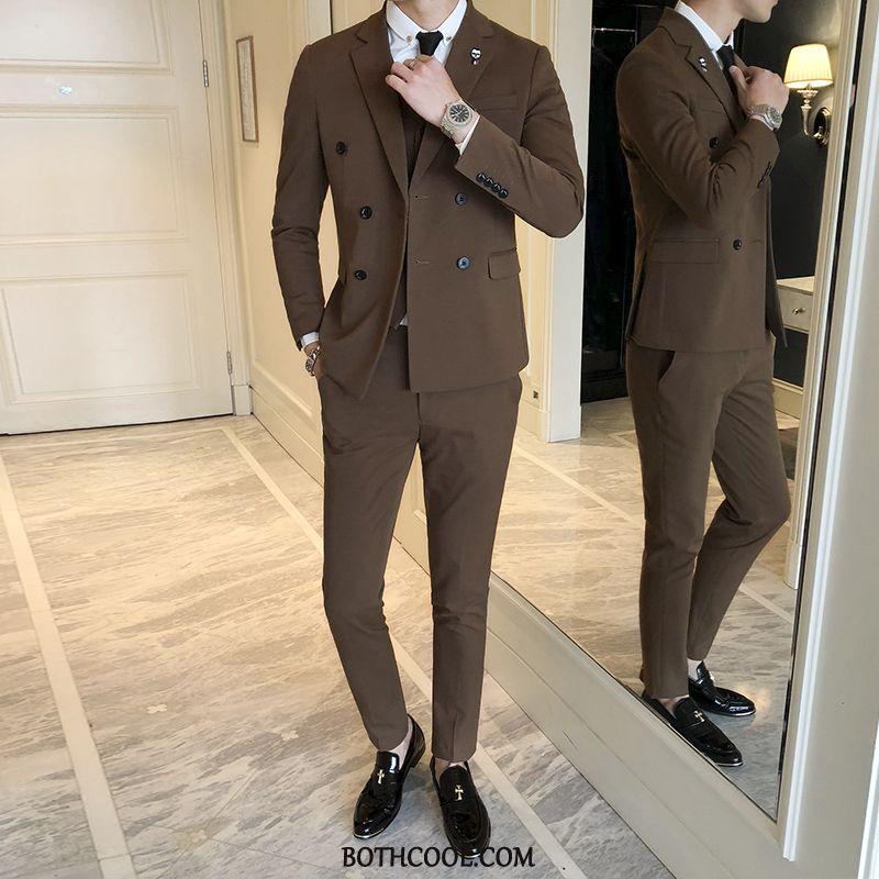 Abito Completo Uomo On Line Tuta Nozze Blazer Primavera Slim Fit Britannico Cachi