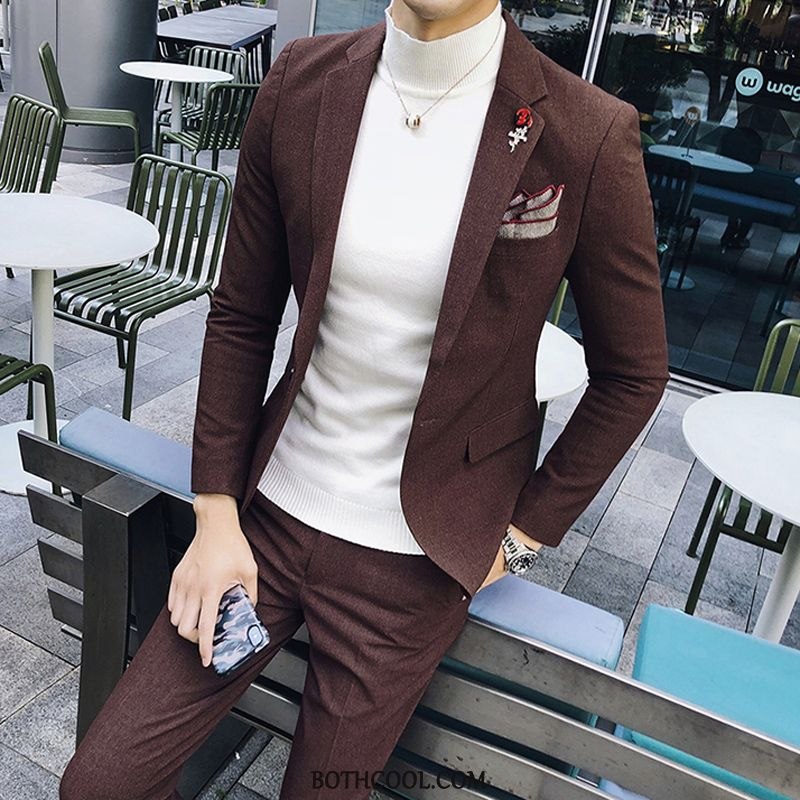 Suits Mens For Sale Three Sets Suit Best Man Wedding Casual Set Coffee