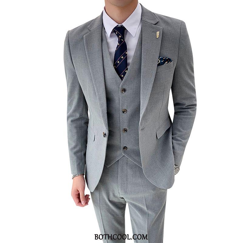 Suits Mens For Sale Trend Suit Suit Slim Fit Set Three Sets Gray