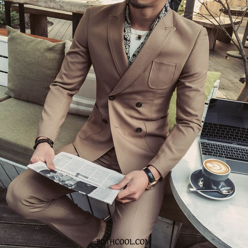 Suits Mens Online Casual Double Breasted Men's Europe Suit Bridegroom Khaki