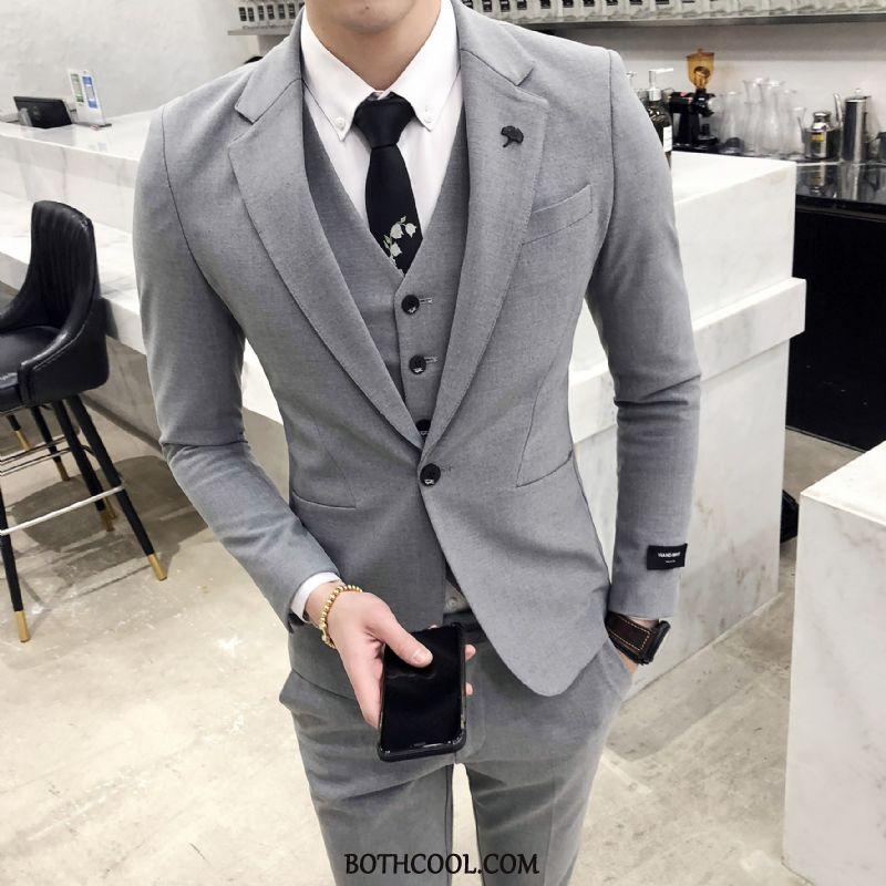 Suits Mens Online Casual Set Europe Business Slim Fit Suit Light Gray