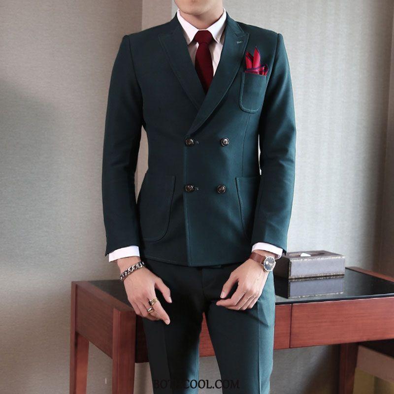 Suits Mens Online Double Breasted Bridegroom Casual Men Set Slim Fit Green Dark