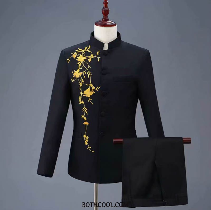 Suits Mens Online Embroidered Suit Dress Chinese Style Stand Collar Youth White