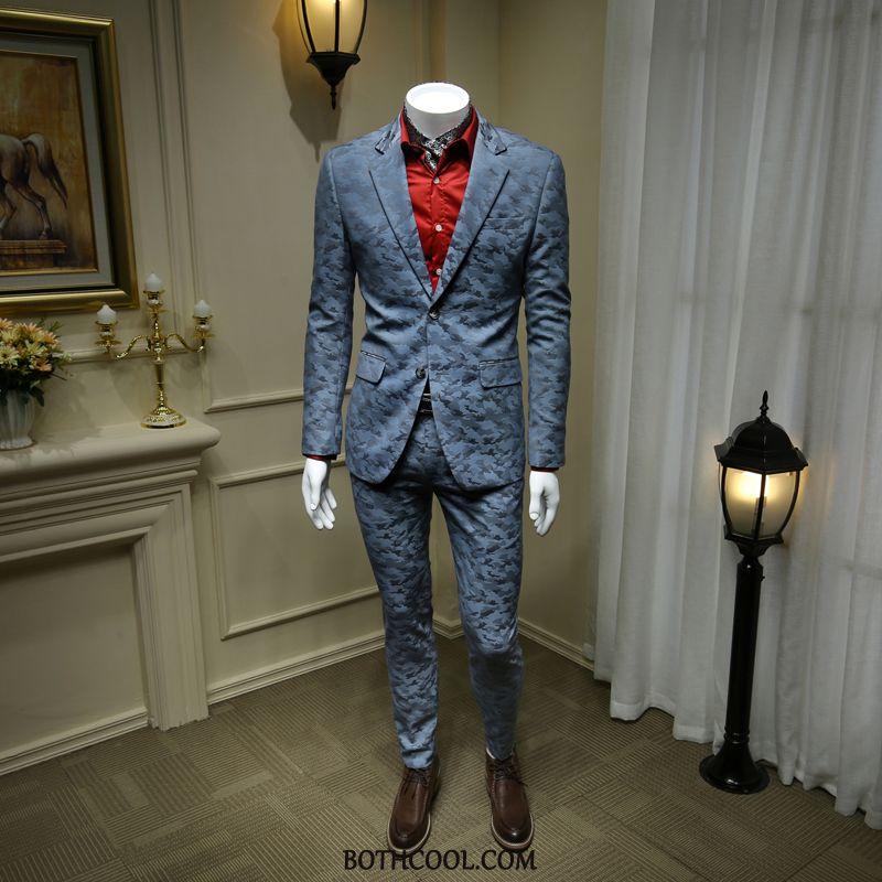 Abito Completo Uomo Vendita Business Bello Due Pezzi Uomo Britannico High End Blu Chiaro Camouflage