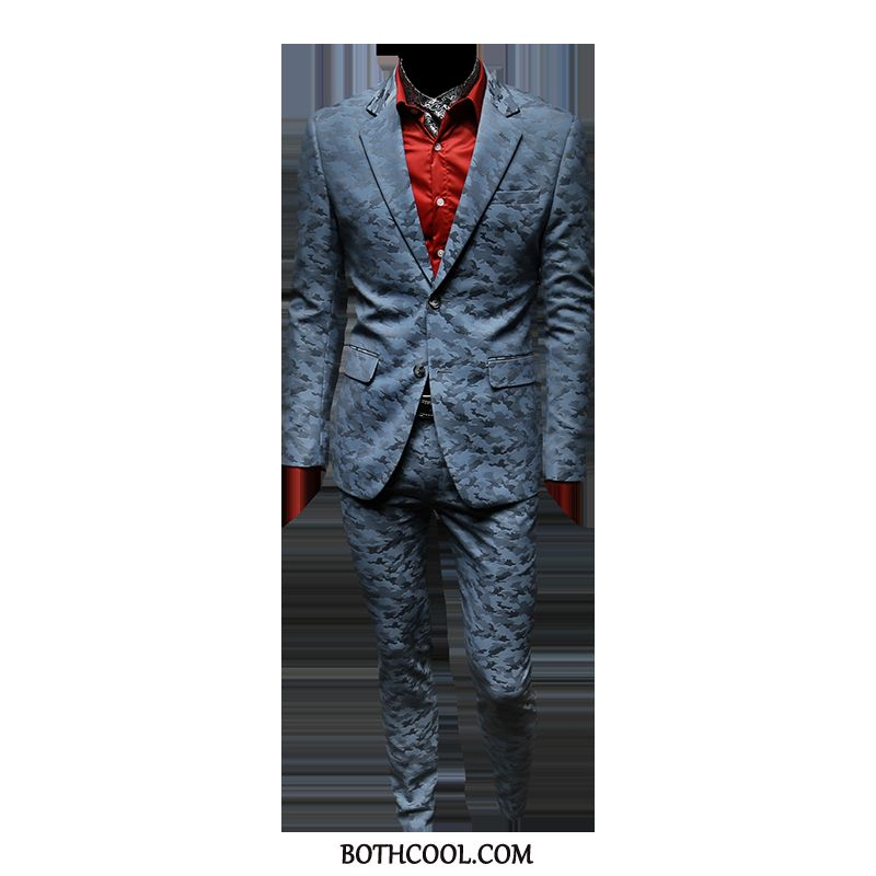 Suits Mens Online Europe Business Set Casual Top Grade Suit Camouflage Light Blue