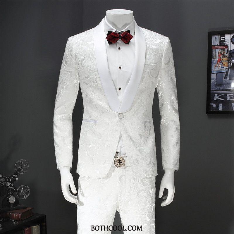 Suits Mens Online Europe Men Suit Set Two Pieces Flower White