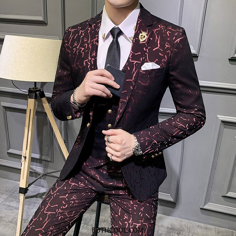 Suits Mens Online Flower Suit Europe Wedding Set Suit Red