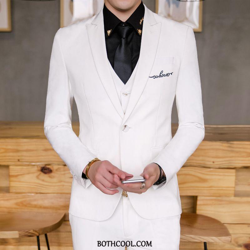 Abito Completo Uomo Economiche Groomsmen Ospite Slim Fit Sposo Matrimonio Grande Puro Bianco Rosso