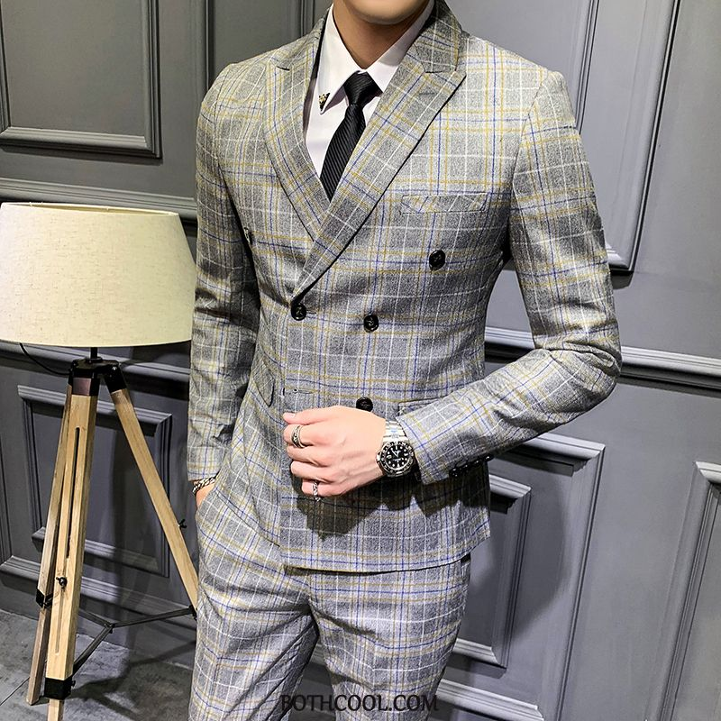 Suits Mens Online Sale Business Slim Fit Europe Set Long Sleeves Suit Gray