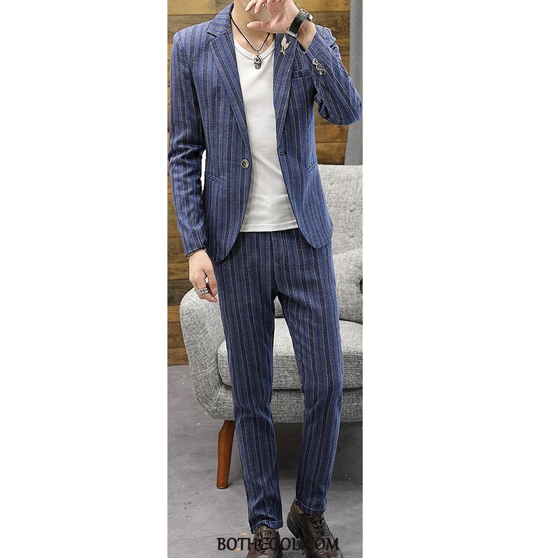 Suits Mens Online Sale Casual Men's Slim Fit Europe Two Pieces Youth Stripe