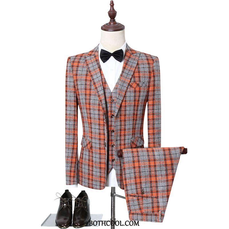 Suits Mens Online Sale Clothing Suit Set Wedding Formal Suit Suit Red Orange