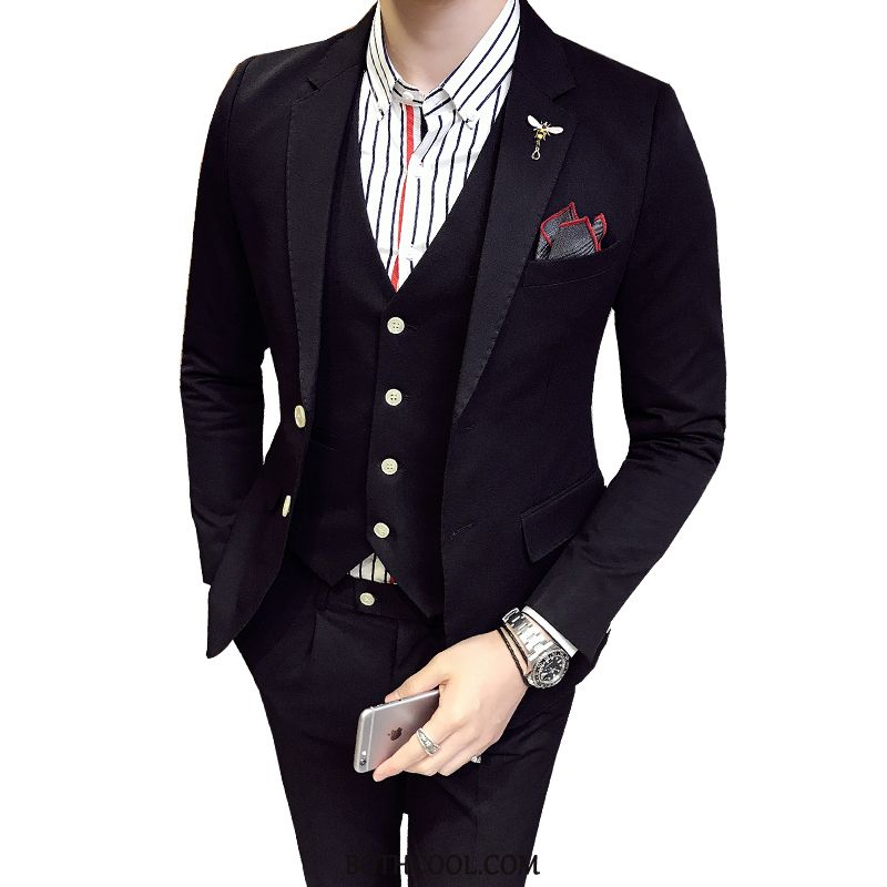 Suits Mens Online Sale Europe Men Wedding Set Spring Three Sets Red Pink Black